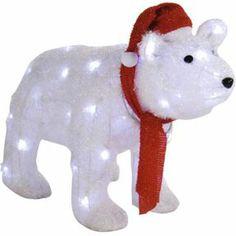 Outdoor Lightup Polar Bear with Blue Ribbon - GardenSite.co.uk ...