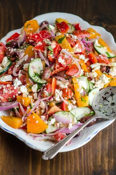Tomato Salad with Red Onion, Dill, and Feta Imagine this cool and colorful mix of summery tomatoes, onions, and feta next to a big juicy steak. I think it's fair to say these are the meals we wait all year to enjoy.