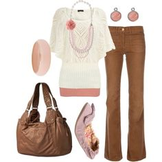 Tan and light pink- (skh---great, but I'd wear a different sweater in same color if you're not model thin)