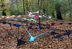 'intervention invading network' is a series of network installations by german artist irene anton in locations  around the world. each piece is composed of between 100 and 150 recycled pairs of tights that have been knotted  together and arranged into interconnected lines and nodes (where balls stuffed within the pantyhose create these bulbs).