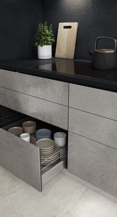 Dekton Slim by Cosentino surfaces. Dark backsplash and countertop with grey cabinets. - Find inspiration for your kitchen renovation ideas using Dekton new ultra slim countertops. Grey Kitchen Designs, Kitchen Room Design, Kitchen Cabinet Design, Modern Kitchen Design, Home Decor Kitchen, Interior Design Kitchen, Kitchen Ideas, Modern Kitchen Inspiration, Modern Grey Kitchen