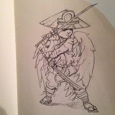 Illustration by Melvin Todd #lovelessmelvin #warrior #angel #drawing #atltattooartists
