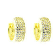 Hoop Earrings 15mm Yellow Gold Tone Sterling Silver ave Set CZ Wide Mens or Womens Women's