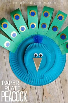 Gorgeous Paper Plate Peacock Craft & 20+ Paper Plate Animal Crafts for Kids | Paper plate crafts Paper ...
