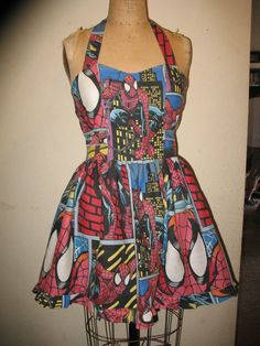 Custom Made to Order The Amazing Spiderman Comic Book Character SweetHeart Ruffled Halter Mini Dress