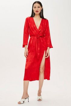 43314958e3e8 Womens Petite Snake Jacquard Knot Midi Dress - Red