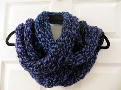 Handmade Knit Purple and Black Infinity Scarf by MistyMountainYarns on Etsy