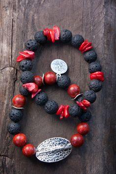 Red Coral and black Lava bracelet set ethnic Boho by MartaDissenys