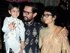 Aamir Khan along with his wife Kiran Rao and son Azad Rao Khan during Diwali celebrations