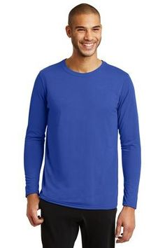 4.5-ounce, 100% polyester jersey knit. AquaFX™ moisture wicking. Freshcare™ anti-odor properties. Seamed single-needle 3/4″ collar. Double-needle sleeves and bottom hem.