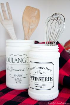 Turn old jars into something beautiful with your Silhouette with this month's Silhouette Creator's Challenge. Create a beautiful Farmhouse Kitchen Canister or two to bring lots of fixer upper charm to your kitchen.   Housefulofhandmade.com