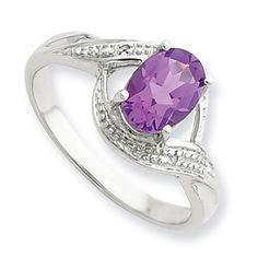 Sterling Silver Rhodium Amethyst Diamond Ring Size 8