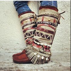 Aunty Entity Tribal Boot cuffs by LotusRootsCreations on Etsy