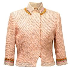 Matthew Williamson Orange Tweed Jacket with Embroidery   | From a collection of rare vintage jackets at https://www.1stdibs.com/fashion/clothing/jackets/