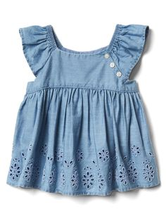 Gap offers baby girl bodysuits that will keep your baby girl comfy. Choose from a variety of baby girl bodysuits, tops and t shirts. Baby Outfits, Kids Outfits, Cute Outfits, Newborn Outfits, Frill Tops, Chambray Top, Chambray Fabric, Jeans, Baby Kids Clothes