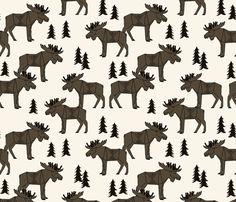 Moose Forest - Brown by Andrea Lauren  fabric by andrea_lauren on Spoonflower - custom fabric