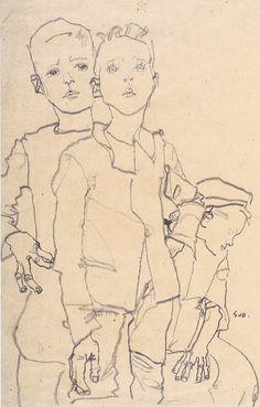 Egon Schiele, Drei Gassenbuben, 1910, Bleistift auf braunem Packpapier, 44.7 x 30.8 cm, Albertina, Vienna