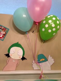 Sarah and duck birthday decorations... Made with card stock and felt