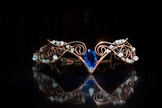 "Tiara ""Swan Princess"" Weddings Hair accessory Fairy Circlet Diadem oxidized antiqued Swarovski crystal Copper wire wrapped jewerly. $75.00, via Etsy."