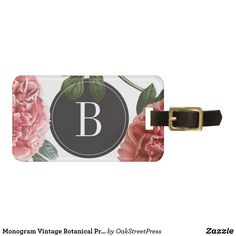 A monogram, vintage botanical print luggage tag, featuring pink vintage drawings of roses. Customize this luggage tag with your personal information and monogram. Perfect for travelers. Personalized Luggage Tags, Custom Luggage Tags, Tag Luggage, Vintage Luggage, Travel Luggage, Luggage Tag Template, Vintage Botanical Prints, Luggage Straps, Standard Business Card Size