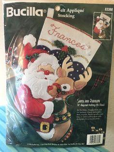 "Bucilla Santa and Rudolph 18"" Diagonal Stocking Felt Applique 1996 #83388 NEW #Bucilla #Stocking"