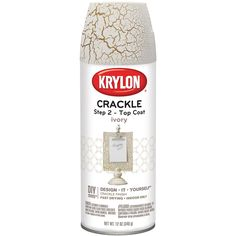 Krylon-Crackle Spray Base Coat. Crackle finish is a two part process. The base coat, in Gold, can be used as a decorative enhancement on furniture, moldings, doors, picture frames, etc., and then finished with the top coat, in Ivory, to produce an antiqued, aged look of crackled, peeling paint. Fast drying, it works well on wood, metal, plastic, paper mache, glass, plaster, ceramic and wicker. This package contains one bottle of 11 oz. of crackle spray. WARNING: This product contains…