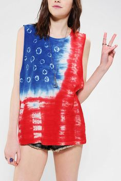 OBEY Free Fallin' Americana Tie-Dye Muscle Tee #urbanoutfitters. Just bought this obsessed
