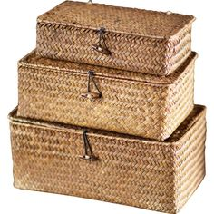 Dot & Bo Conner Rattan Box - Set of 3 (€31) ❤ liked on Polyvore featuring home, home decor, small item storage, decor, baskets, boxes, interior, rectangular basket, brown boxes and stacking baskets
