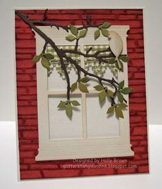 Classy Cards 'n Such: Branch in the Window, MB dies and Spellbinders Bricks and Bark EB folder.