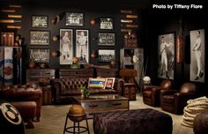 This is the ideal traditional man cave and all its glory. Man is this cool. #baseball #boxing #mancave #sportsmemorabilia