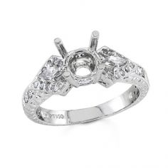 BF1340 - #23551  18 k, white diamond ring 0.18 ct. kris cut diamond 0.21 ct. rounds (Please call for pricing)