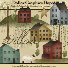 Willow Clip Art Set, by Country Life Graphics - $1.00 - Great for printable crafts, scrapbooking, web graphics, embroidery patterns, and lots more! www.DollarGraphicsDepot.com