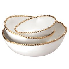 3 Piece Studs Stacking Bowl Set in Ivory