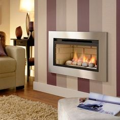 Crystal Fires 36043502 Boston Logs Remote Control Gas Fire - Brushed Steel Trim Black Back Wall Gas Fires, Home Furnishings, Home, Fireplace Design, Glass Fronted Gas Fire, Furniture More, Dunelm, Fireplace, Dunelm Bedding