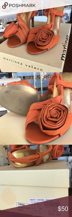 """Martinez Valero Corona Orange Flower Heels 6.5 """"Corona Orange Flower"""" - super comfy heels! I've never actually worn them myself, but purchased them from a dear friend & coworker of mine without actually walking around in them! They're just slightly too small for me && May have gotten a little too excited taking them off of her hands! :)  original box, great condition! Martinez Valero Shoes Heels"""