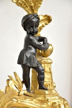 Antique bronze firedog with exotic figures. Bronze, Architectural Antiques, Making Out, 19th Century, Exotic, African, Fire, Paris, Beautiful