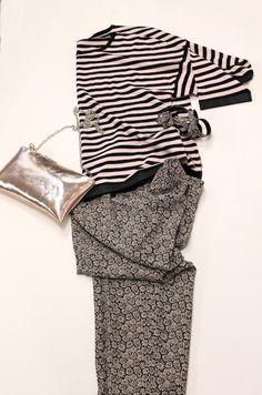 pantalone a fiorellini e maglia a righe, WEEKEND MAX MARA