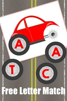 Car letter matching - activities for toddlers with autism cars preschool, preschool letters, preschool Transportation Activities, Car Activities, Alphabet Activities, Language Activities, Preschool Activities, Alphabet Cars, Cars Preschool, Preschool Literacy, Preschool Letters