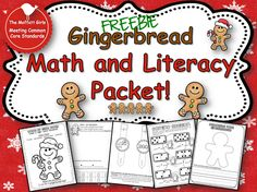 Gingerbread Math and Literacy FREEBIE from The Moffatt Girls! This packet includes color by number gingerbread man, Gingerbread word problems, gingerbread and sight word watch, domino addition and gingerbread writing! Differentiated Kindergarten, Kindergarten Reading, Math Literacy, Kindergarten Classroom, Literacy Bags, Kindergarten Centers, Elementary Math, Gingerbread Man Activities, Gingerbread Men