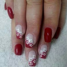 Red and white nail art Ring Finger Nails, Finger Nail Art, Red And White Nails, Red Nails, French Nail Art, French Tip Nails, Nail Polish Designs, Cool Nail Designs, Cute Nails