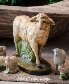 Lg Vintage Nativity Sheep Chalkware by edithandevelyn on Etsy