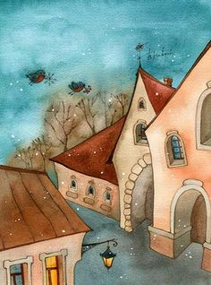 research artist? I loved the artist today . Tonight and Monday, let's do illustrations and paintings of HOUSES. Illustrator, Watercolor Architecture, Happy Paintings, Owl Paintings, House Illustration, Guache, Naive Art, Whimsical Art, Painting Inspiration