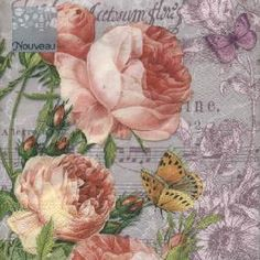 20 napkins - 33 x 33 cm Morning Flavour,  Animals - butterflies,  Flowers - roses,  Easter,  lunchnapkins