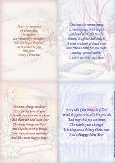 - 4 Christmas inserts, with traditional vintage winter scenes and Christmas verses. Use as inserts for the matching Topper she. Christmas Messages For Cards Quotes, Christmas Card Verses, Scrapbook Christmas Cards, Chrismas Cards, Christmas Sentiments, Printable Christmas Cards, Verses For Cards, Card Sentiments, Christmas Quotes