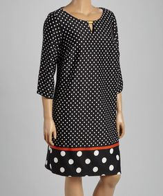 Loving this Black & Spice Polka Dot Shift Dress - Plus on #zulily! #zulilyfinds