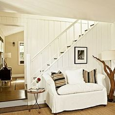 Let There Be White - 24 Budget-Friendly Mini Makeovers - Coastal Living Wood Paneling Makeover, Painting Wood Paneling, Paneling Ideas, Painting Walls, Foyer Decorating, Interior Decorating, Decorating Ideas, Beach House Decor, Coastal Living