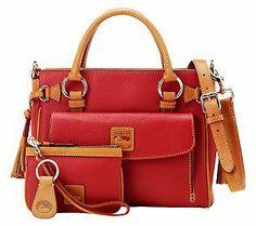 Red - Dooney & Bourke Leather Medium Pocket Satchel with Accessories — QVC.com