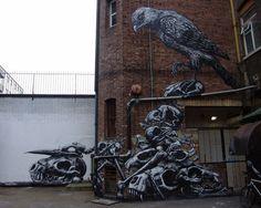 bird and bones by the street artist ROA