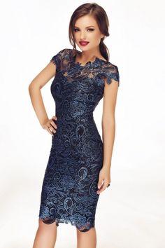 FashionUP! - Rochie Miss Grey din dantela Tania Albastra - FEMEI, Rochii, Rochii de seara