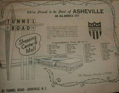 """1969 local newspaper ad for the Tunnel Road Shopping Center & Mall, the ""Shopping Showplace of W.N.C."", when All-America City status was awarded to Asheville for the second time. It was first awarded in 1951, at that time in a broader sense, to Asheville-Buncombe County."" Shared by Mark Huber on ""You know you grew up in Asheville, North Carolina if..."" Facebook page."